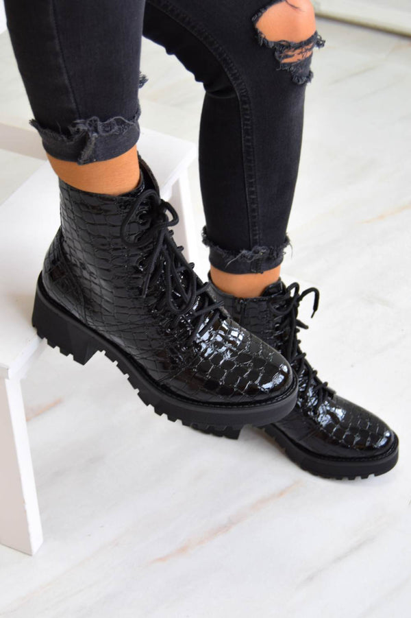 Chunky Platform Lace Up Ankle Boots - Black Croc - 1