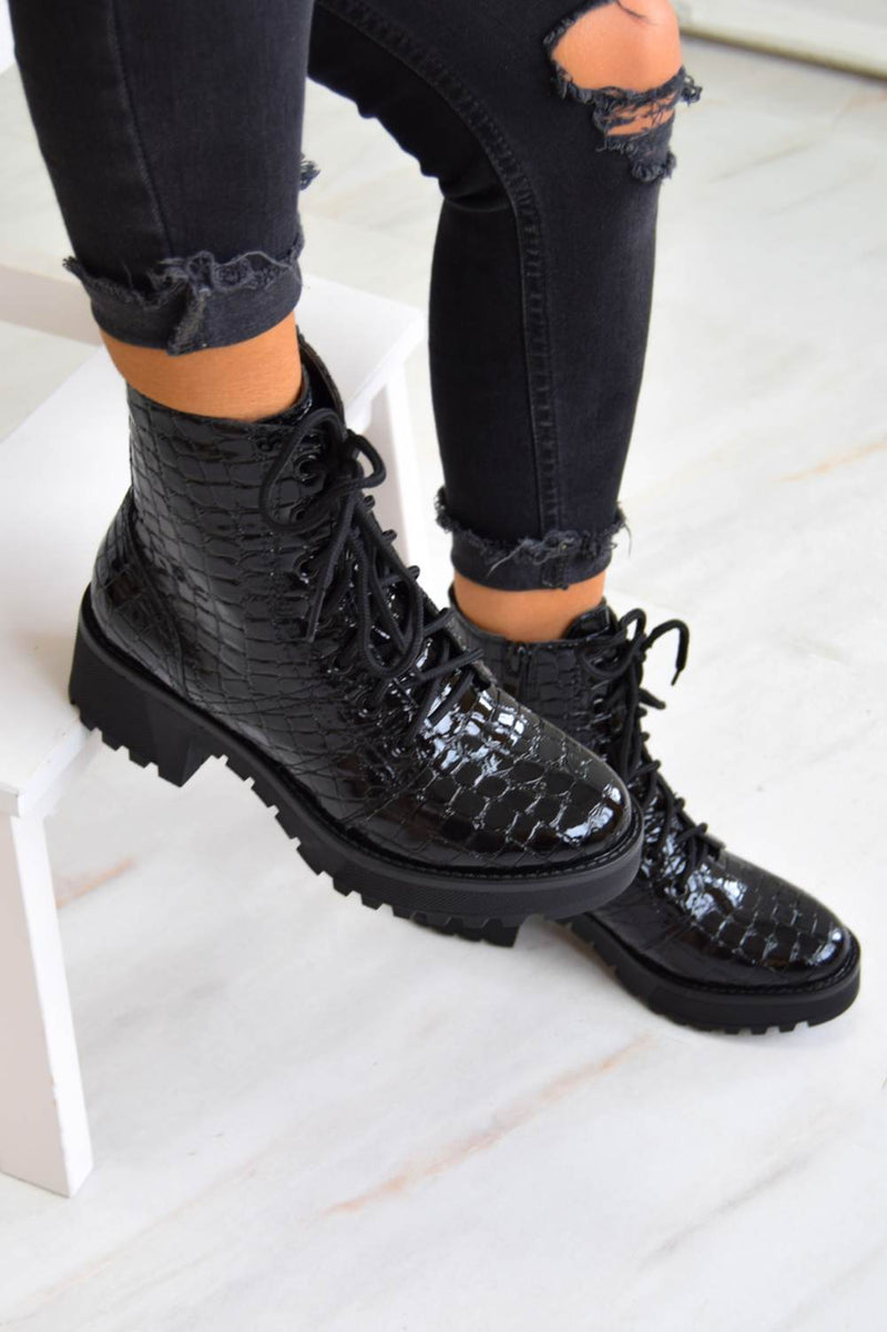 Chunky Platform Lace Up Ankle Boots