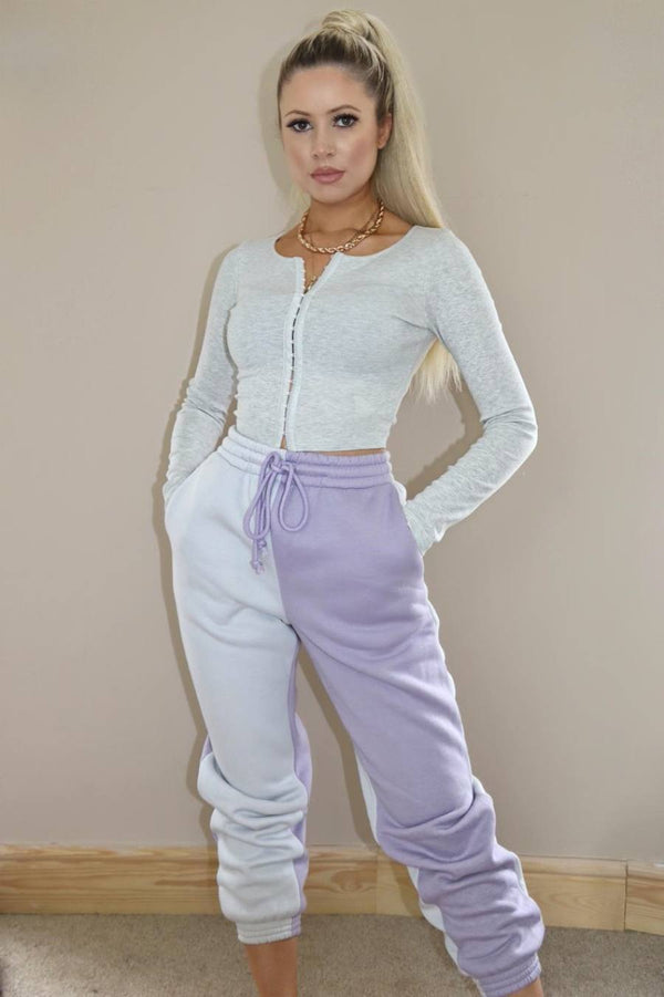 Colourblock Loungewear Joggers - Cream/Lilac