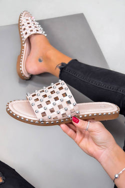 DANNI Studded Caged Sliders - Nude - 1
