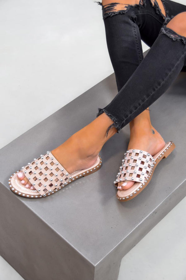 DANNI Studded Caged Sliders - Nude
