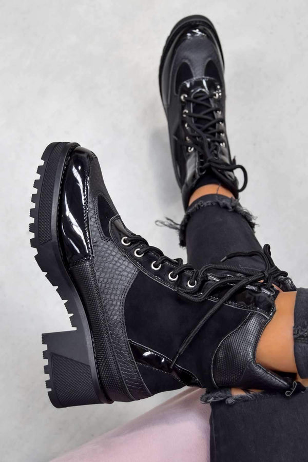 DEFECTOR Lace Up Cleated Sole Ankle Boots - Black Croc - 1