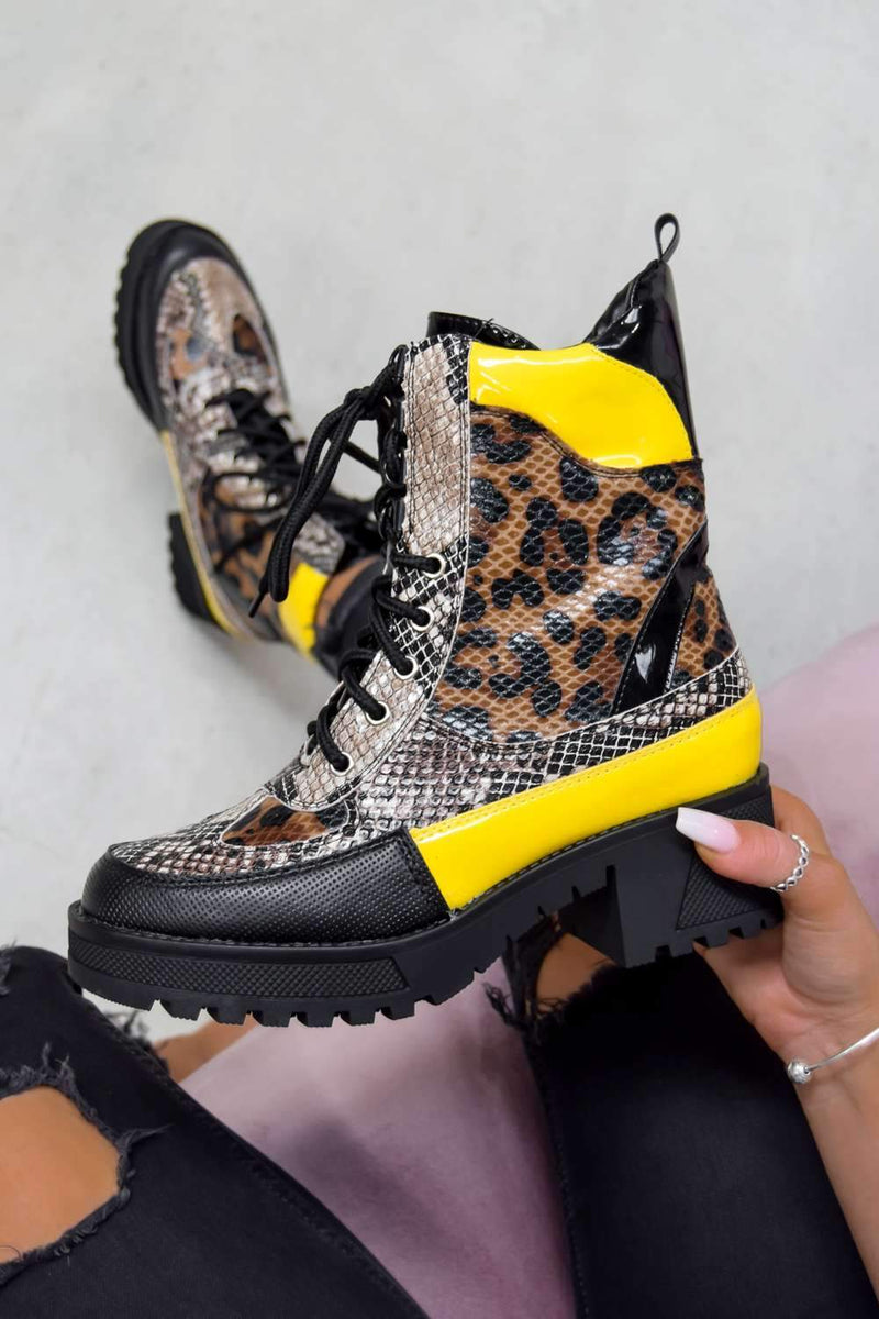 DEFECTOR Lace Up Cleated Sole Ankle Boots - Leopard/Yellow