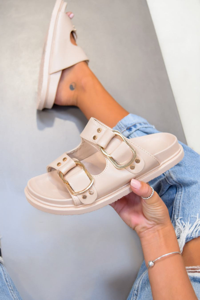 DAY DREAM Chunky Buckle Sandals - Beige/Gold - 1