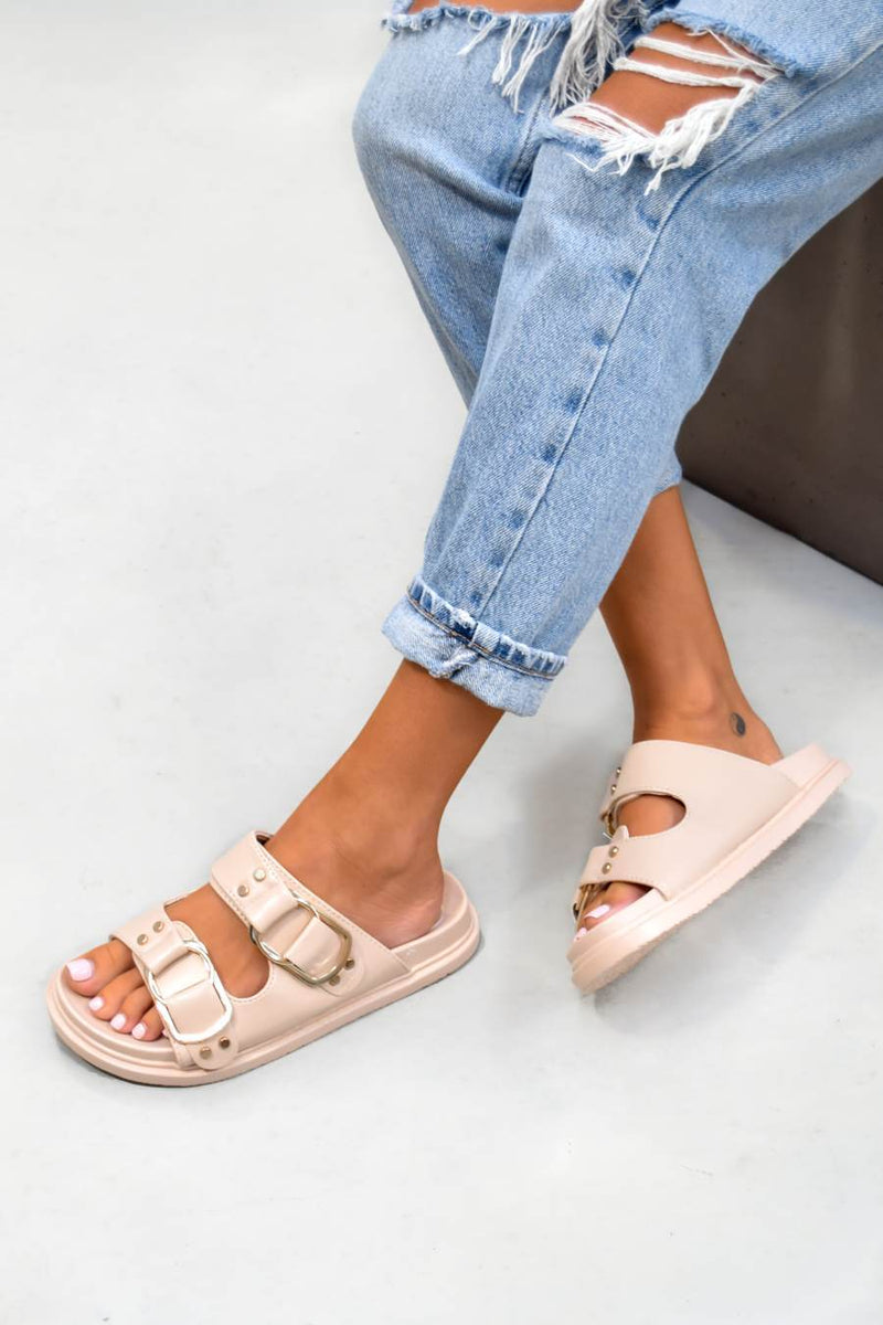 DAY DREAM Chunky Buckle Sandals - Beige/Gold - 2