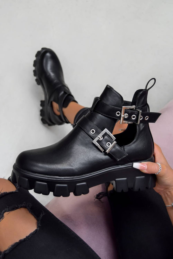 DEFINITION Chunky Cut Out Buckle Ankle Boots - Black