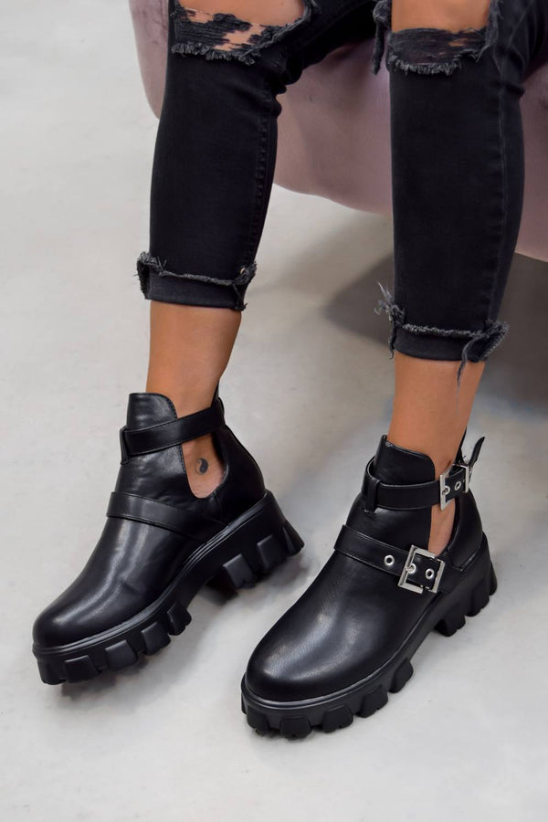 DEFINITION Chunky Cut Out Buckle Ankle Boots - Black - 2