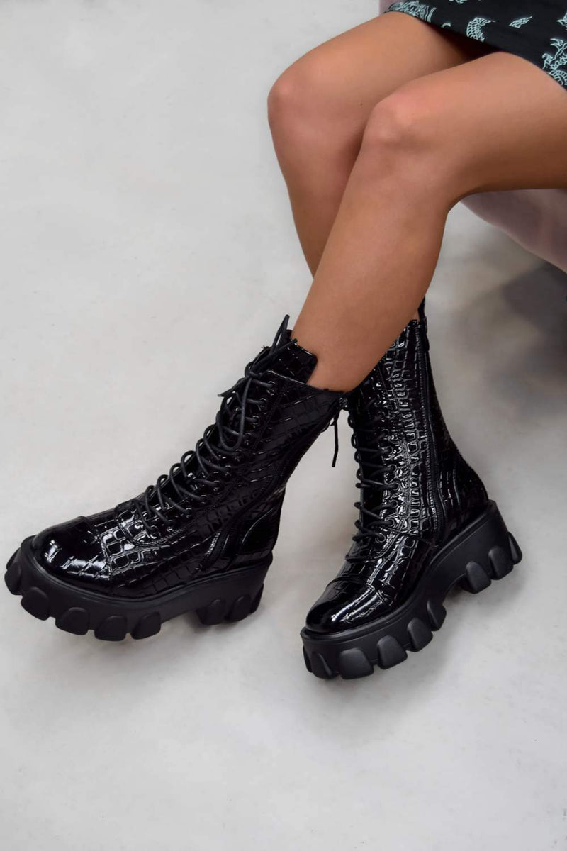 DOMINATE Chunky Platform Lace Up Boots - Black Croc - 2
