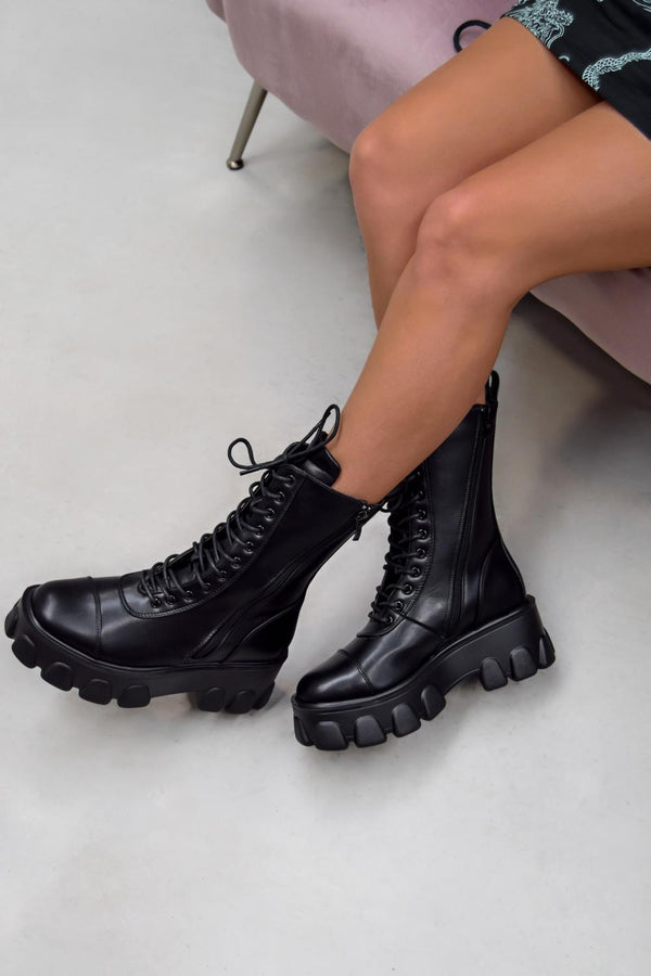 DOMINATE Chunky Platform Lace Up Boots - Black PU  -1