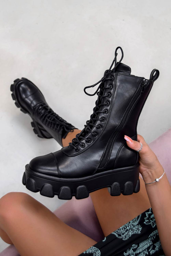 DOMINATE Chunky Platform Lace Up Boots - Black PU