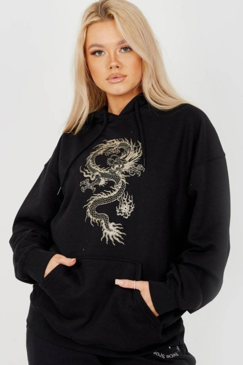 Dragon Fleeced Hoodie - Black -1