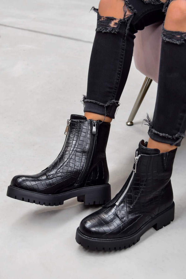 ELEVATE Zip Front Biker Ankle Boots - Black Croc - 2