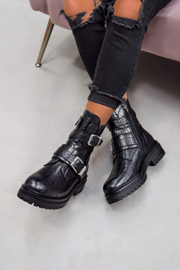 ELICIA Chunky Buckle Strap Ankle Boots - Black Croc - 1