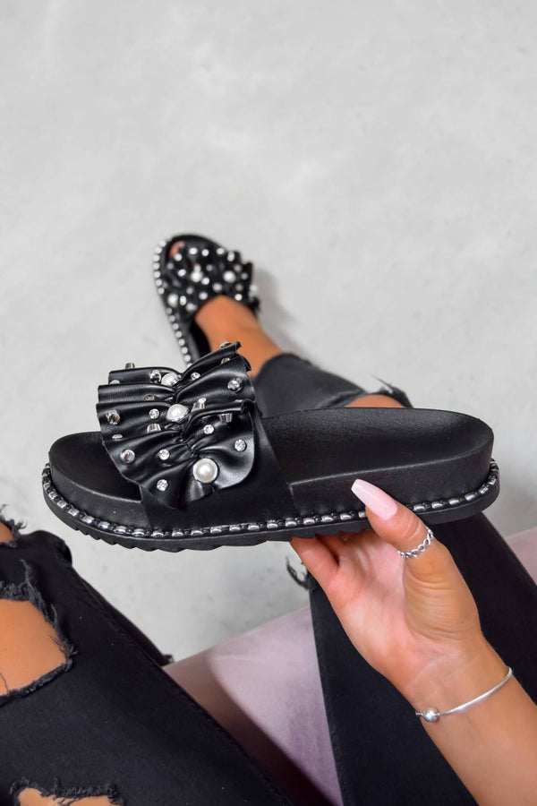 ELLA Chunky Studded Ruffle Sliders - Black