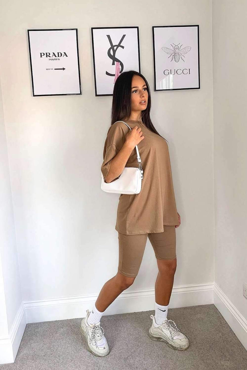 ELLA Two Piece Cycle Short Co-Ord Set - Camel