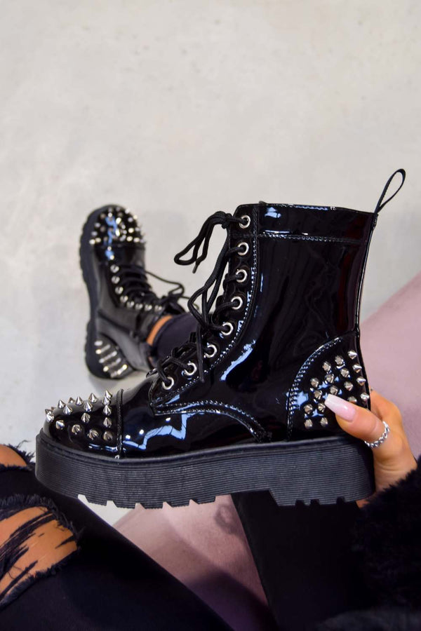 ENGAGE Chunky Platform Studded Ankle Boots - Black Patent