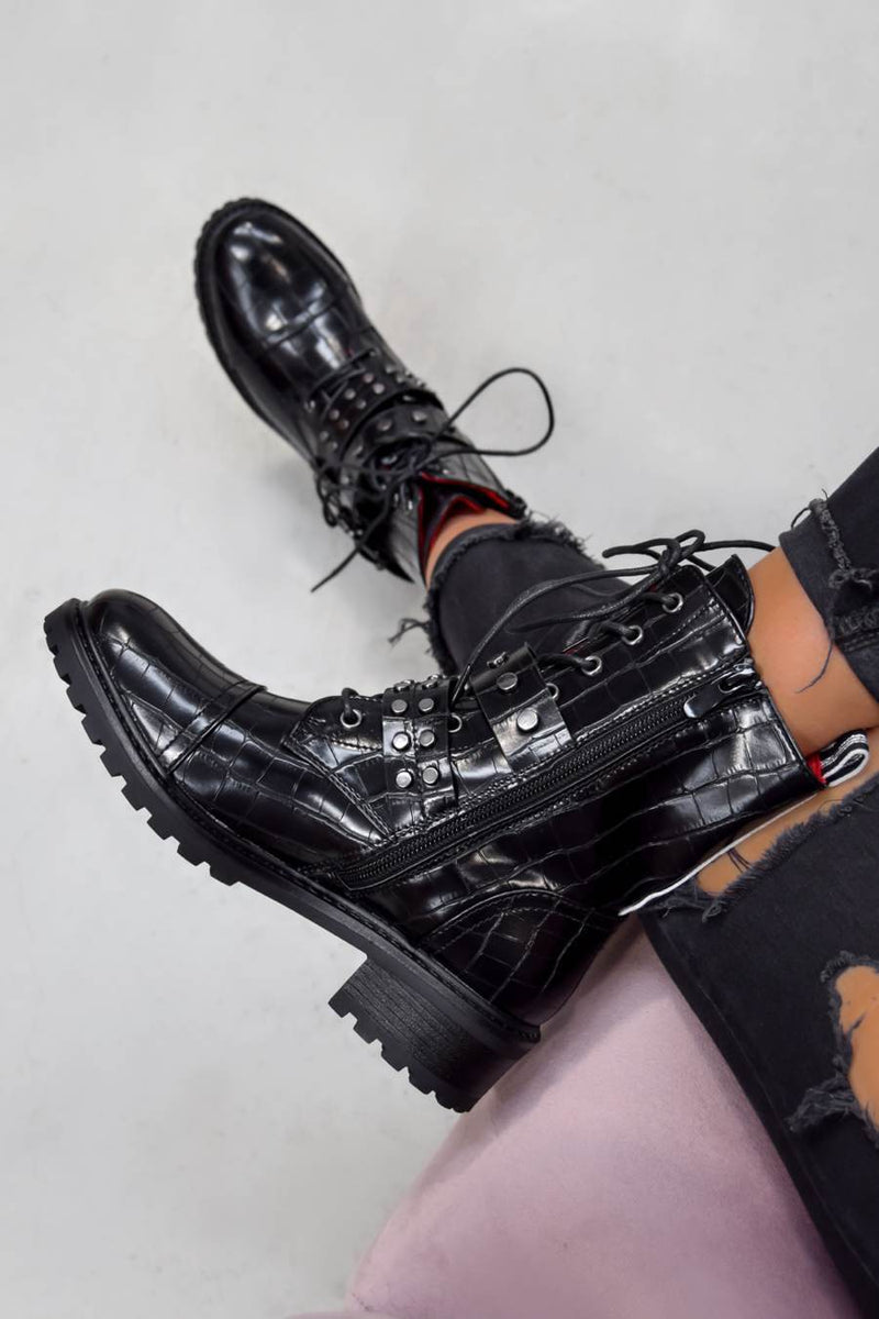 ERYN Lace Up Buckle Ankle Boots - Black Croc - 2