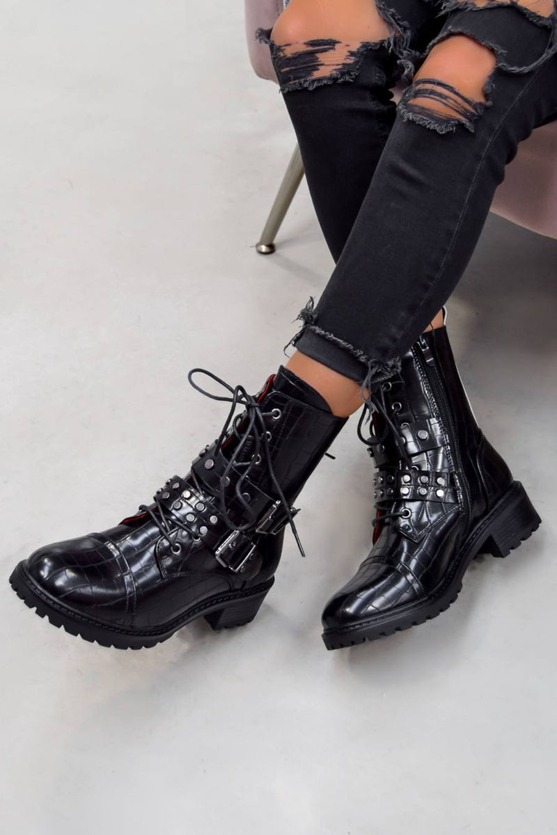 ERYN Lace Up Buckle Ankle Boots - Black Croc - 1
