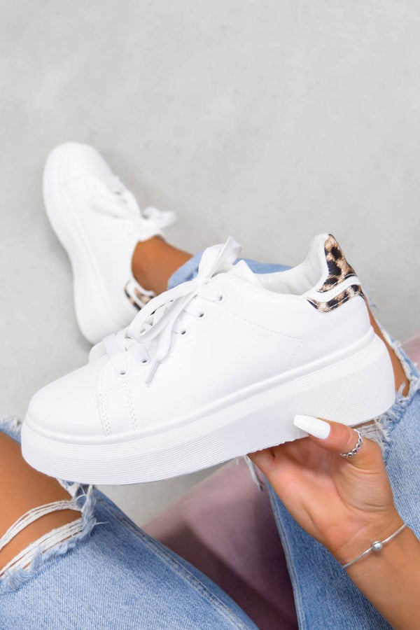ESTA Chunky Platform Trainers - White/Leopard