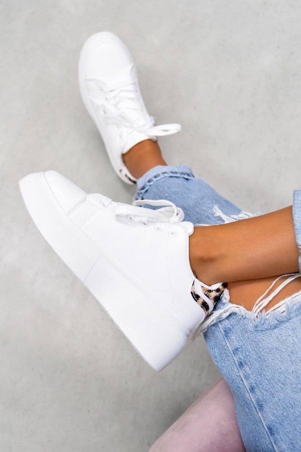 ESTA Chunky Platform Trainers - White/Leopard - 1