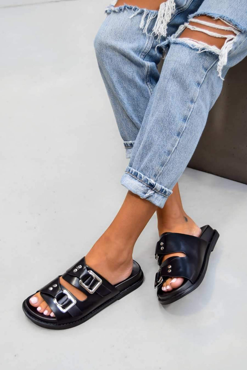 EVISSA Chunky Buckle Sandals - Black/Silver - 2