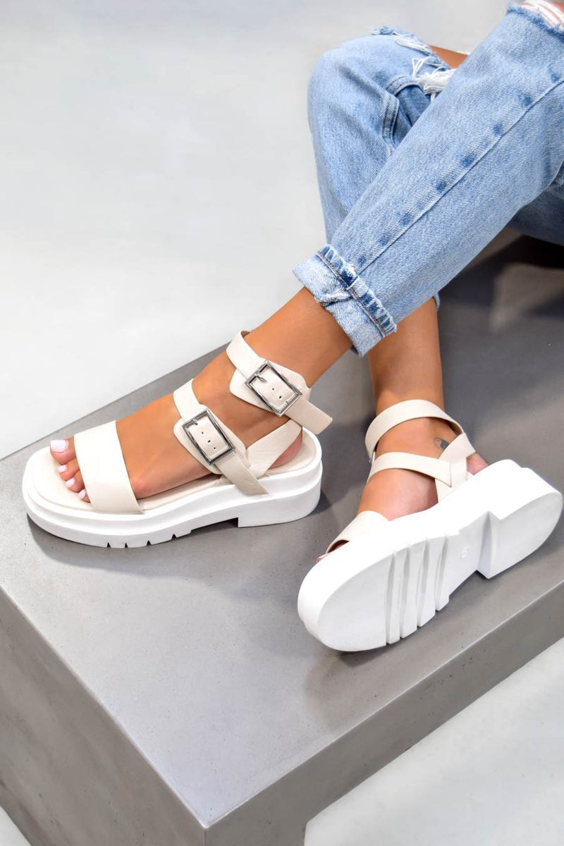 FAITH Chunky Buckle Sandals - Cream PU - 1