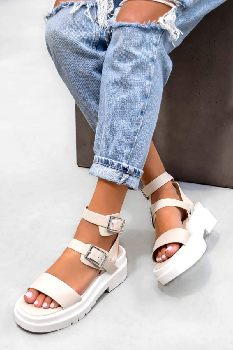FAITH Chunky Buckle Sandals - Cream PU