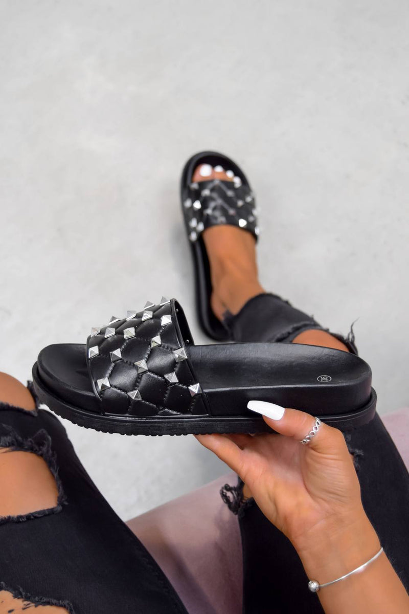 FERA Chunky Studded Quilted Sliders - Black