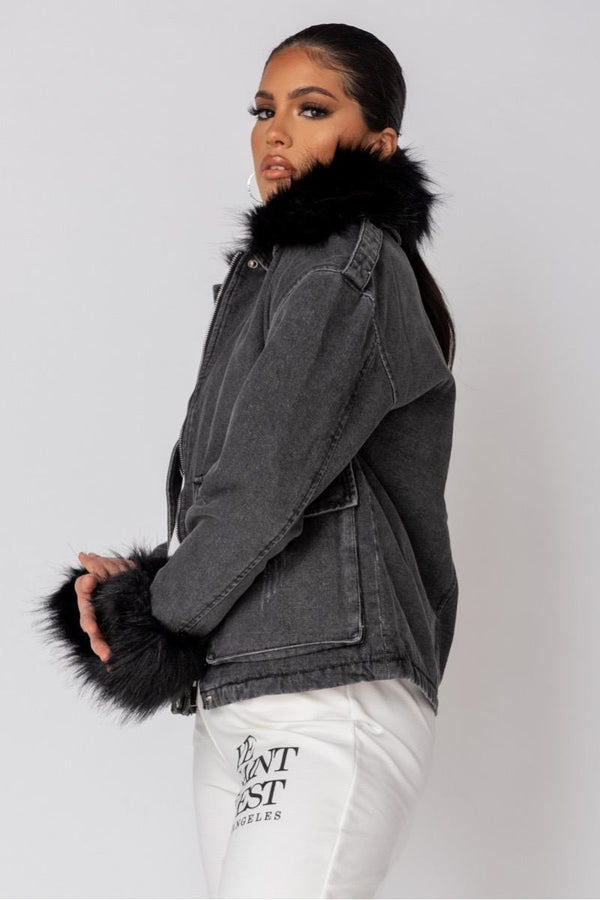 Faux Fur Cuff & Collar Oversized Denim Jacket - Black - 1