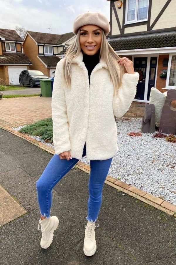 Faux Shearling Mid Length Jacket - Off White