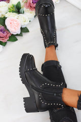 Faux Leather Stud Chain Chelsea Ankle Boots - Black - 1