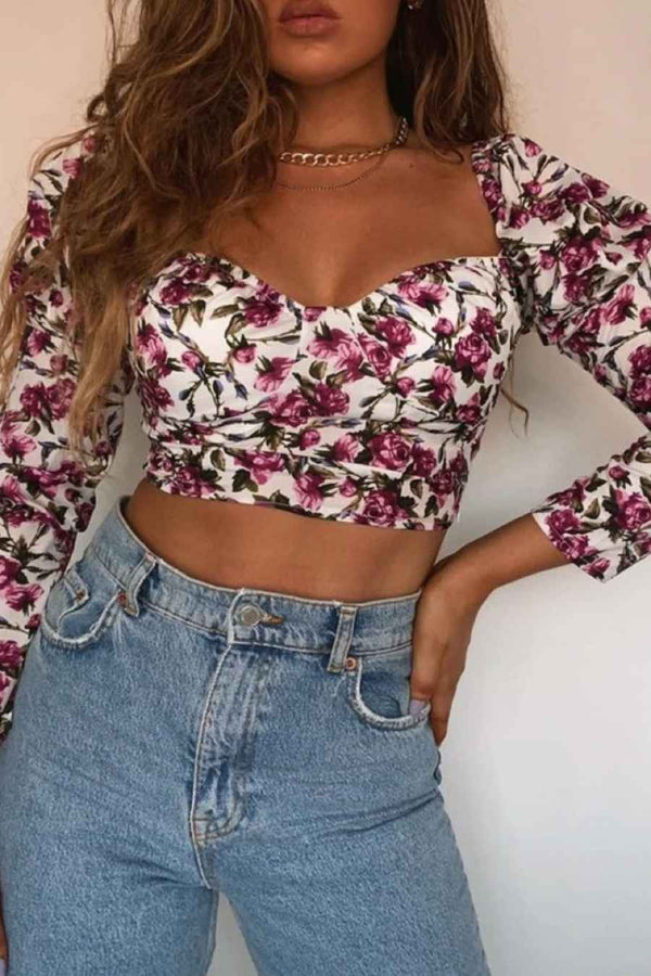 Floral Sweetheart Long Sleeve Crop Top - White