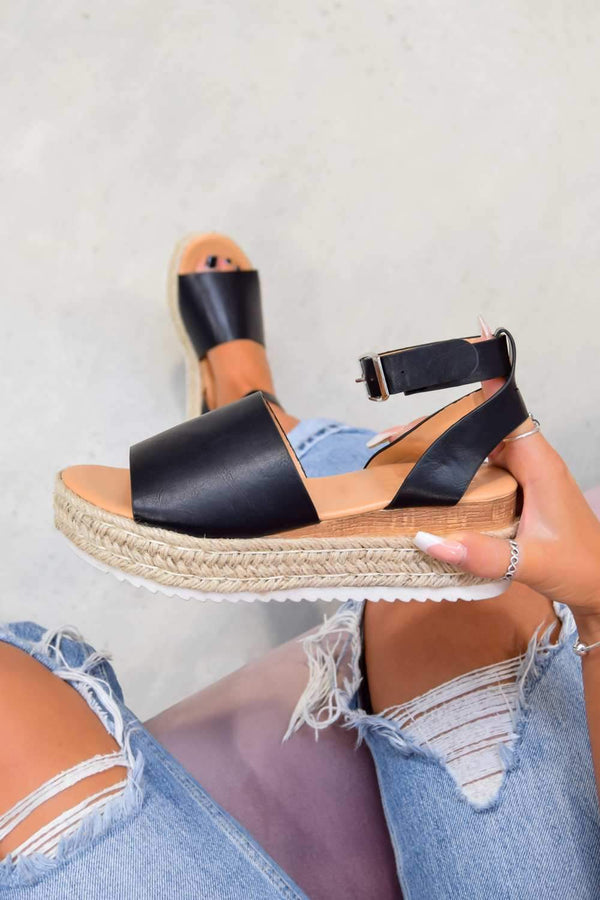 GET IT Chunky Platform Espadrille Sandals - Black