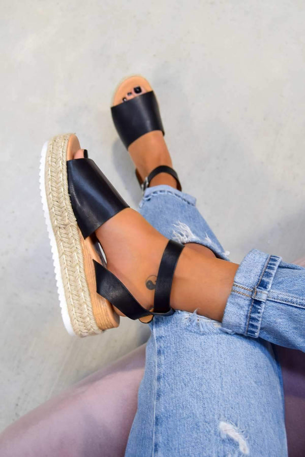 GET IT Chunky Platform Espadrille Sandals - Black - 1