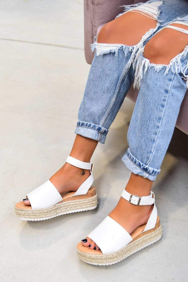 GET IT Chunky Platform Espadrille Sandals - White - 1