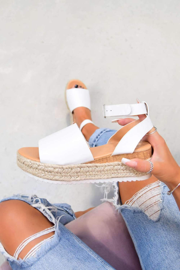 GET IT Chunky Platform Espadrille Sandals - White