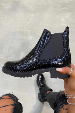 GINI Studded Chelsea Ankle Boots - Black Croc