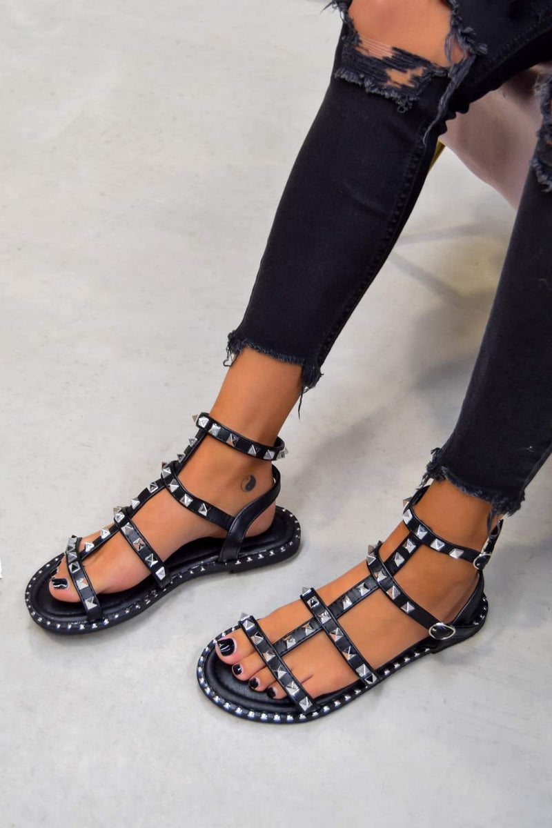 GISELLE Studded Gladiator Sandals - Black - 1