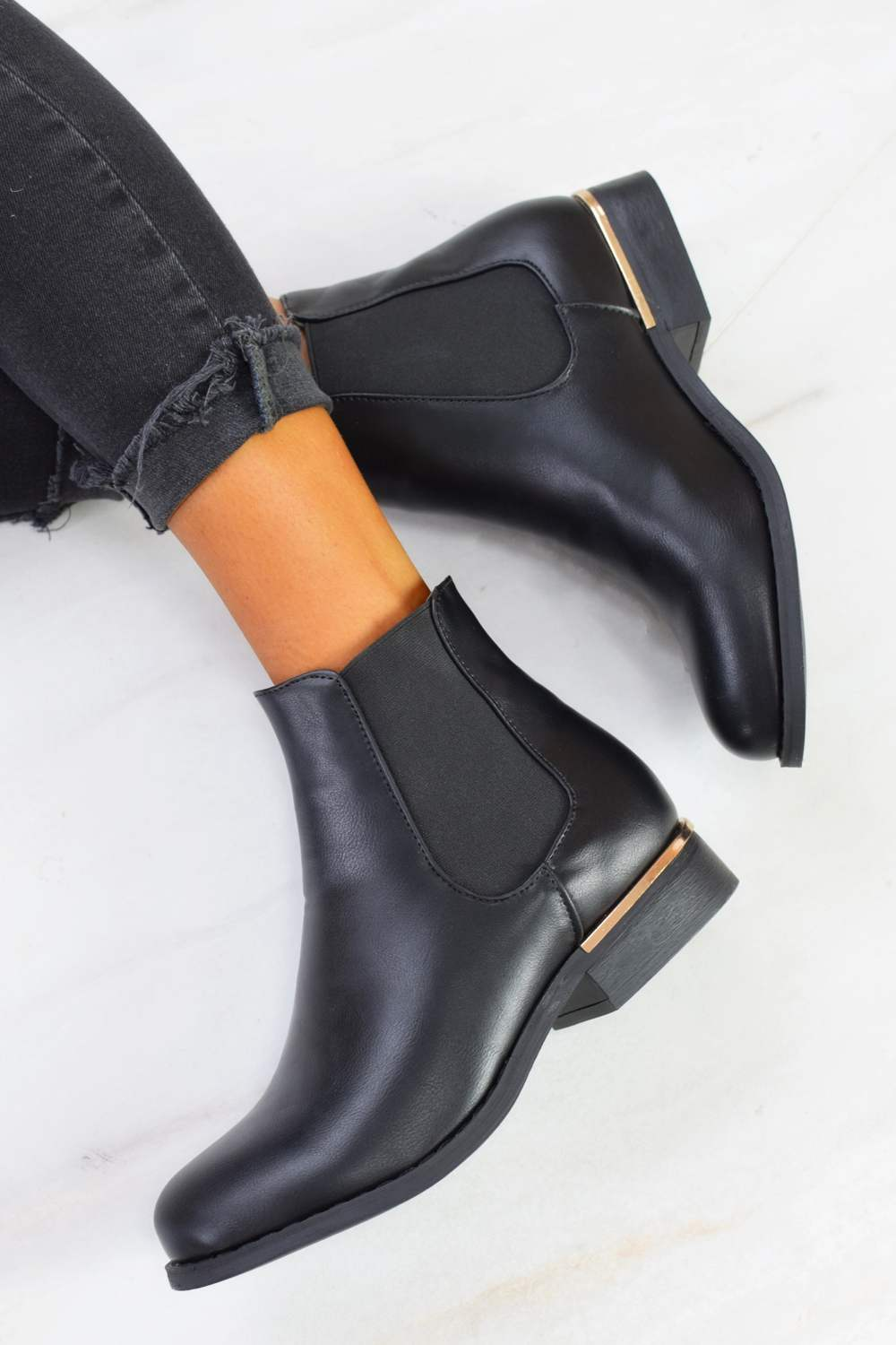 Gold Trim Flat Chelsea Ankle Boot - Black PU - 1