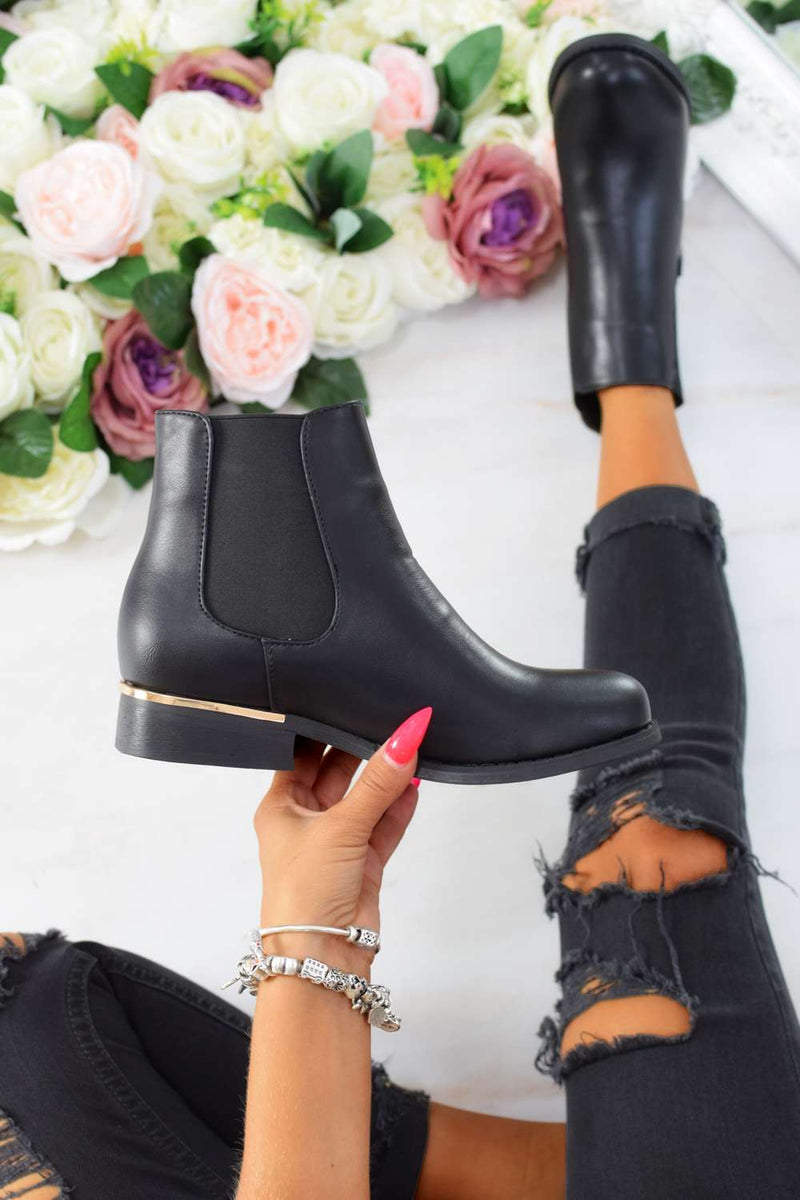 Gold Trim Flat Chelsea Ankle Boot - Black PU