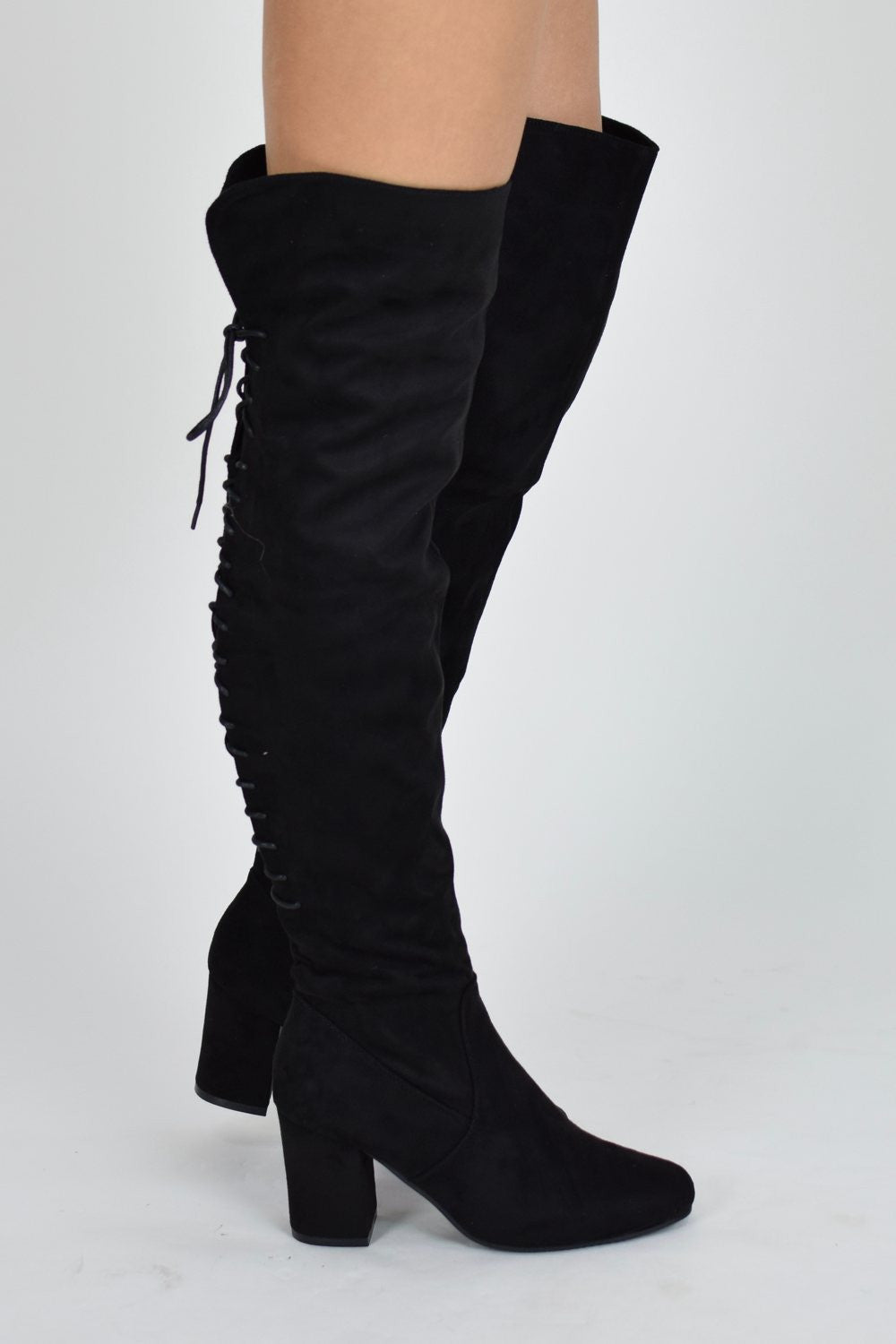 lace up knee boots with block heel black suede aj