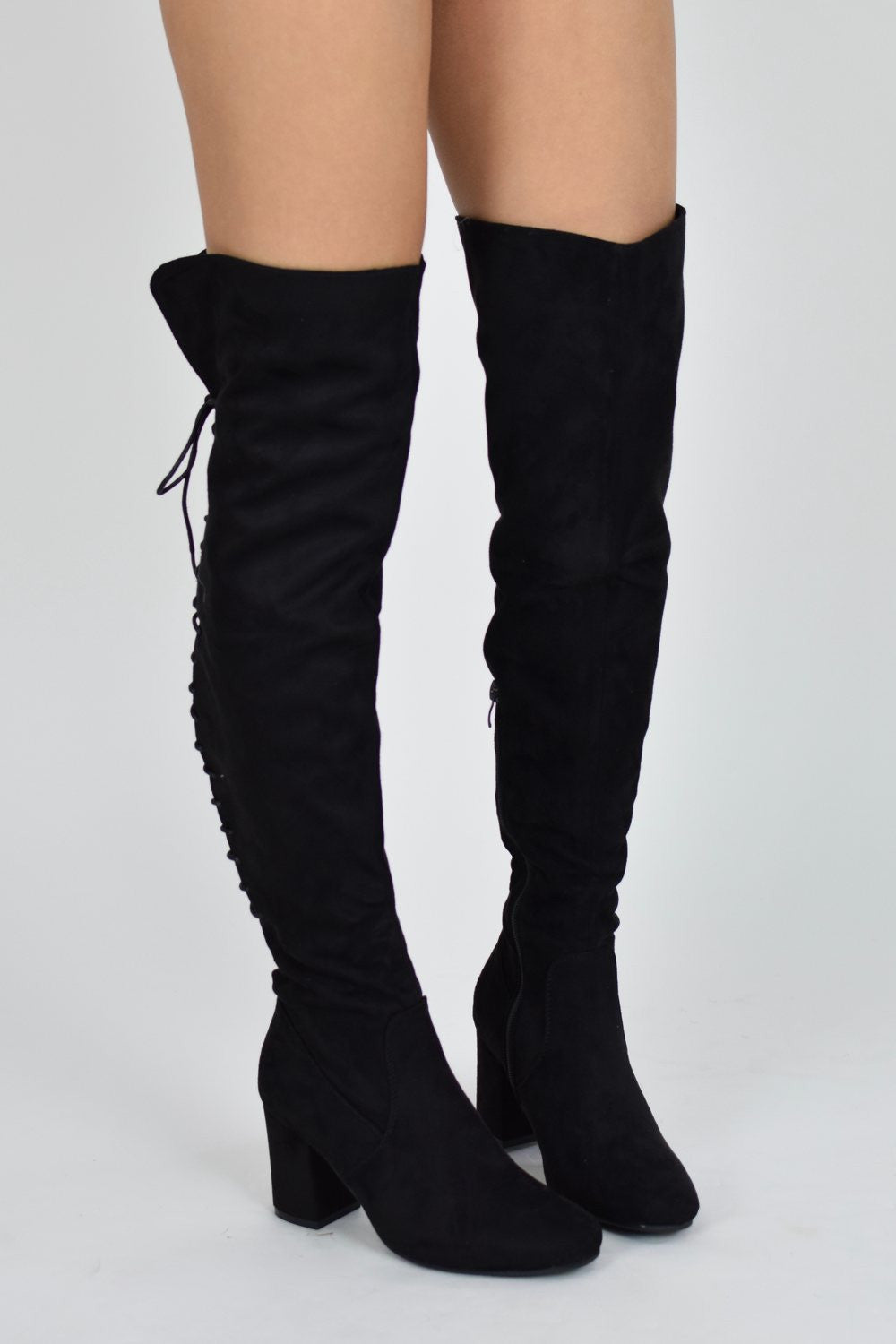 HIGH HOPES Lace Up Block Heel Over knee Boots - Black Suede - AJ Voyage - 2