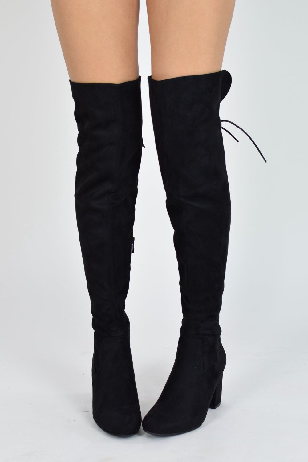 HIGH HOPES Lace Up Block Heel Over knee Boots - Black Suede - AJ Voyage - 40012f1c1