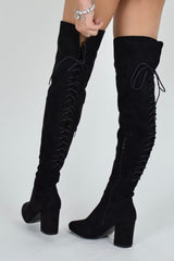 HIGH HOPES Lace Up Block Heel Over knee Boots - Black Suede - AJ Voyage
