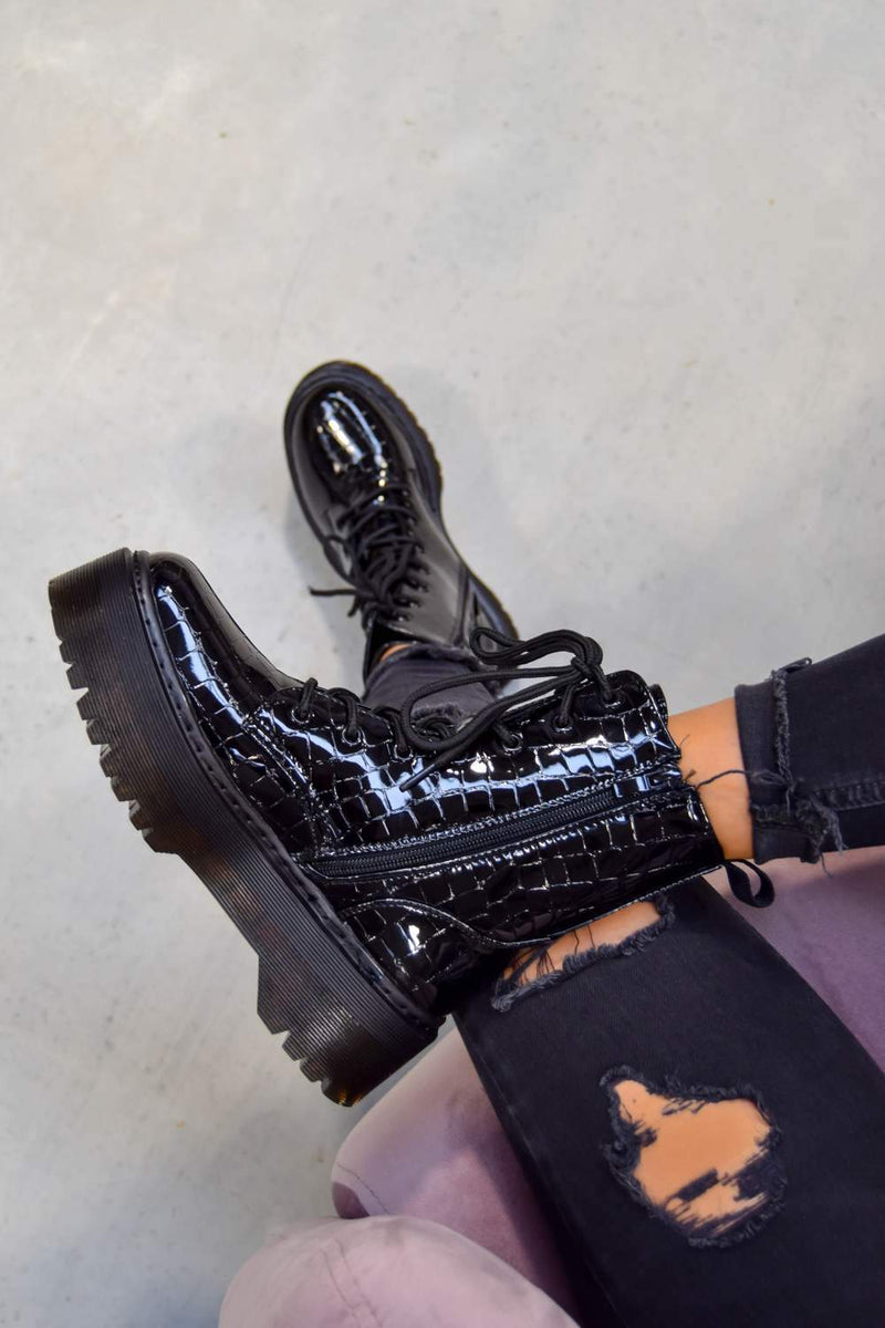 HOLD ON Chunky Platform Lace Up Ankle Boots - Black Croc -1