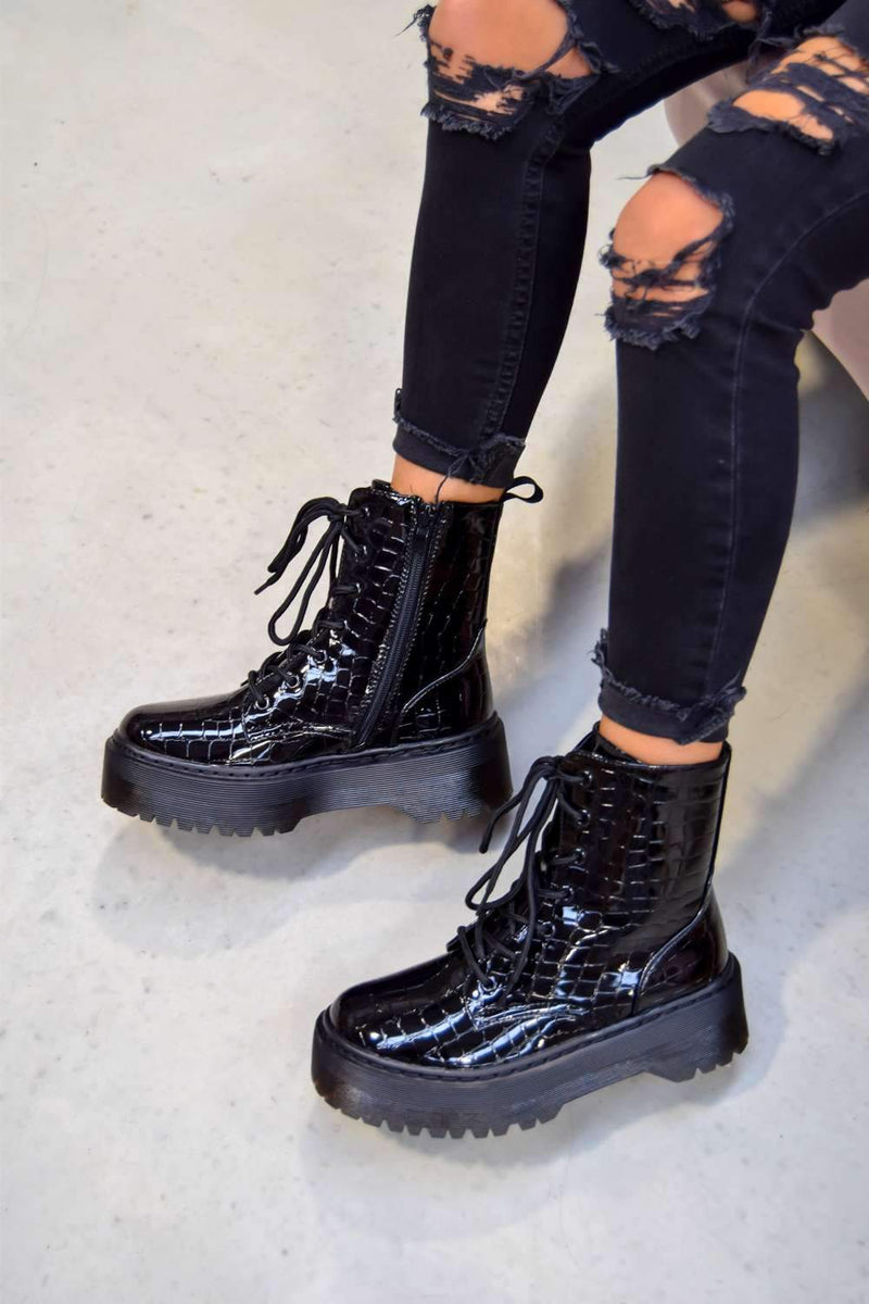 HOLD ON Chunky Platform Lace Up Ankle Boots - Black Croc - 2