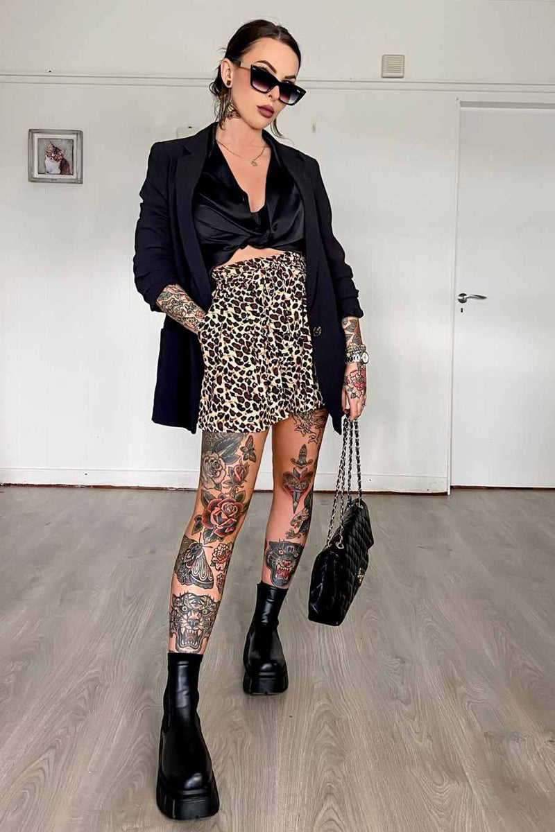 High Waisted Leopard Print Shorts - 1