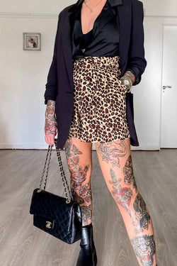 High Waisted Leopard Print Shorts