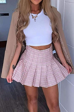 High Waisted Pleated Skirt - Pink Check