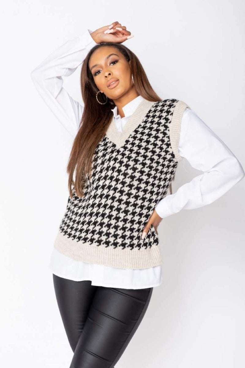Houndstooth Check Sleeveless Knitted Top - Beige - 2